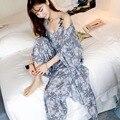 A101spring и летом новый сексуальный хризантемы Ночной Рубашке дамы печати использовать широкую ногу брюки сна платье три костюм дом