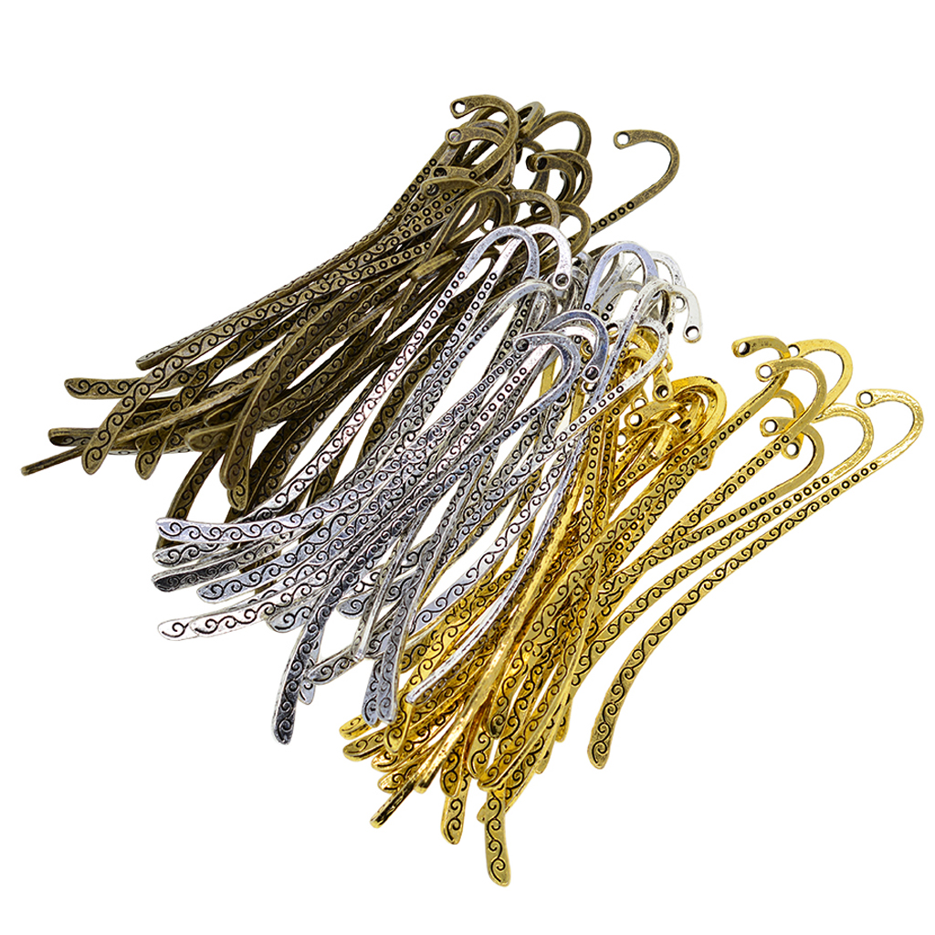 60 Pieces Lots Tibet Silver Antique Gold & Bronze Charms Lines Metal Bookmarks Book Mark With Hook Jewelry Metal Findings DIY