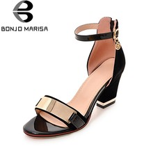 BONJOMARISA Large Size 32-43 High Quality Black Sandals Women Summer 2019 High Heels Metallic Docoration Shoes Woman(China)