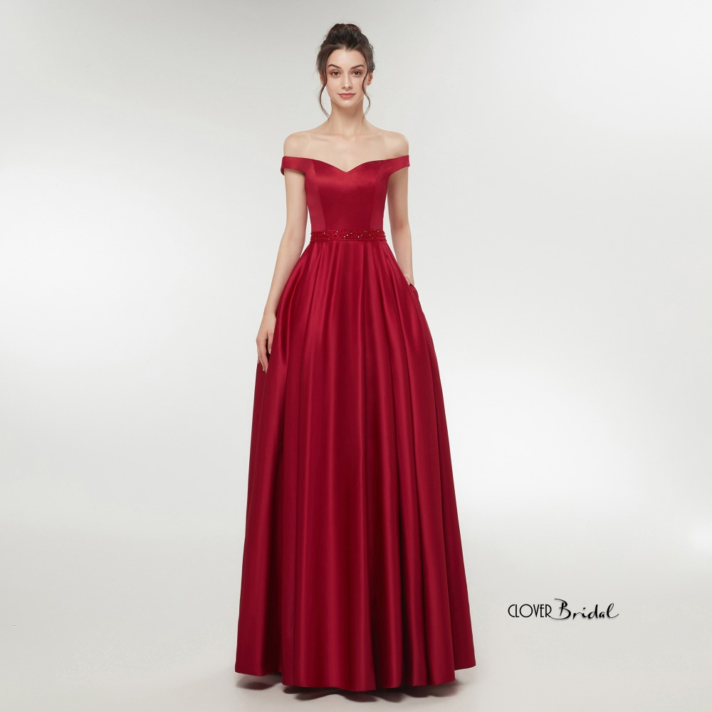 2018 CloverBridal A-line dress elegant burgundy soft satin bridesmaid gown light champagne wedding party dresses with pockets