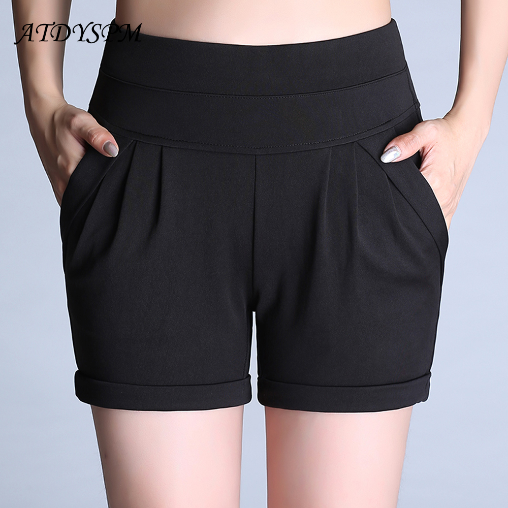ATDYSPM Plus Size 6XL   Shorts   Women High Waist Casual   Short   Candy Color High Waist Pocket Pleated Loose   Short   Hot Stretch   Shorts