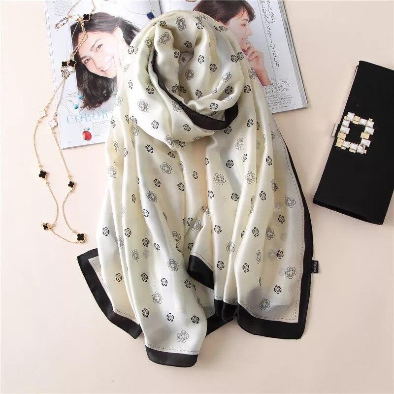 luxury brand summer women   scarf   letter silk   scarves   female shawls Foulard Beach cover-ups   wraps   bandanna chiffon pareo ladies