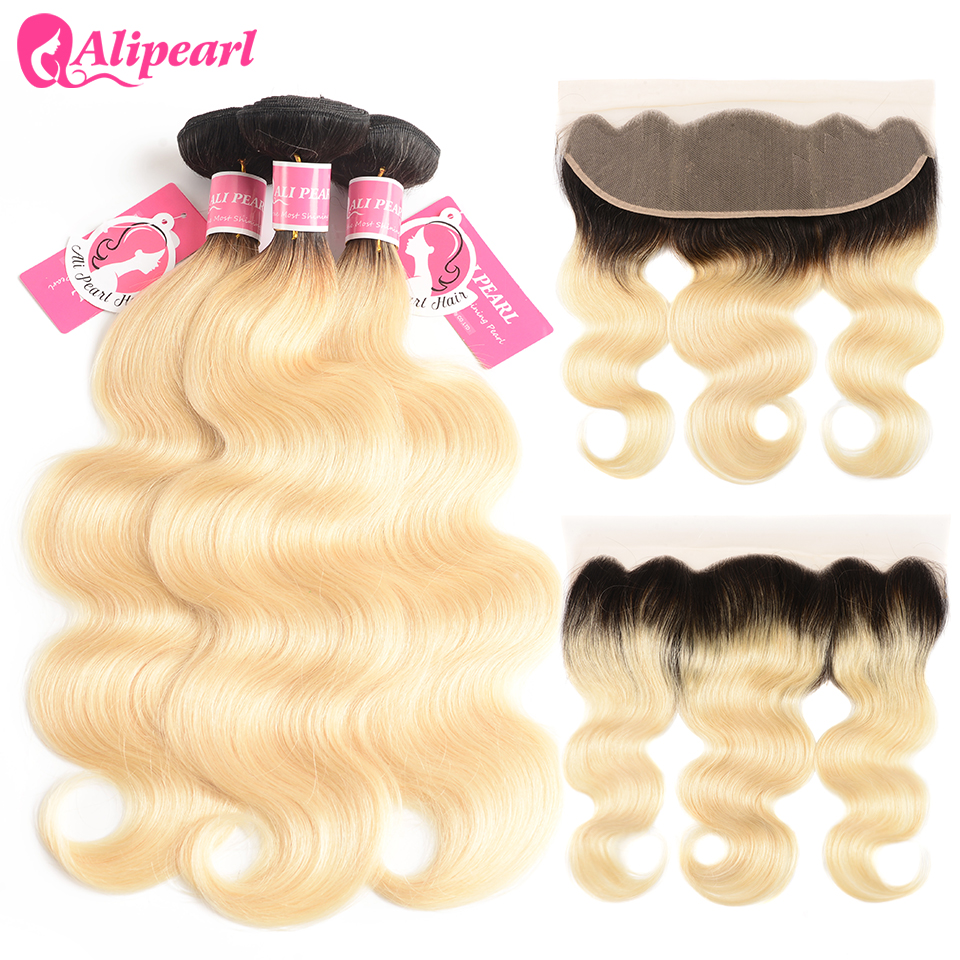 AliPearl Hair Ombre Blonde Bundles With Frontal 1B/613 Dark Roots Perruque Blonde Brazilian Body Wave 3 PCS Remy Hair Extensions image