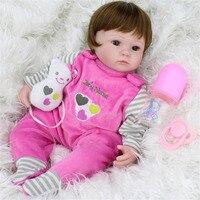 MINOCOOL Soft Silicone Simulation Dolls Reborn Baby Brown Wig Girl Handmade Cloth Body Lifelike Babies Accompaning