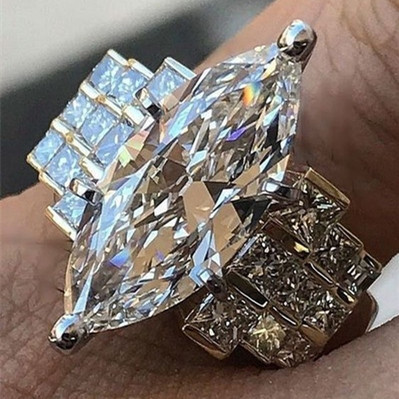 Luxury Female Finger Ring Brilliant White AAA Zircon Wedding Band Ring 925 Silver Banquet Engagment Party Ring for Women Jewelry in Wedding Bands from Jewelry Accessories