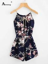 купить Aimsnug womens jumpsuit floral print pocket front cami romper short overalls sleeveless spaghetti strap summer casual jumpsuits по цене 812.84 рублей