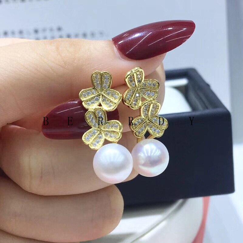 Gold Flower 925 Sterling Silver Earrings Findings Base Earrings Settings Mountings Parts Mounts for Pearls Agate