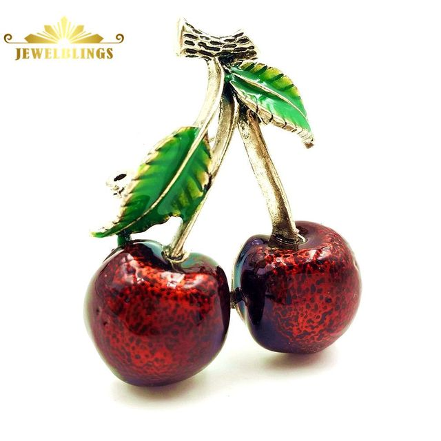 rockabilly jewelry vintage red cherry brooches gold tone green