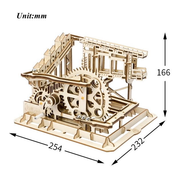 Robotime DIY Cog Coaster Magic Creative Marble Run Game Wooden Model Building Kits Assembly Toy Gift