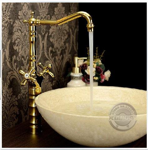 a06f3ca50 الذهبي مزدوجة قدم مخلبية مقبض الحمام بالوعة صنبور. موردن واحدة هول ملمع  الحمام خلاط الحنفية. Deck شنت حوض صنبور.