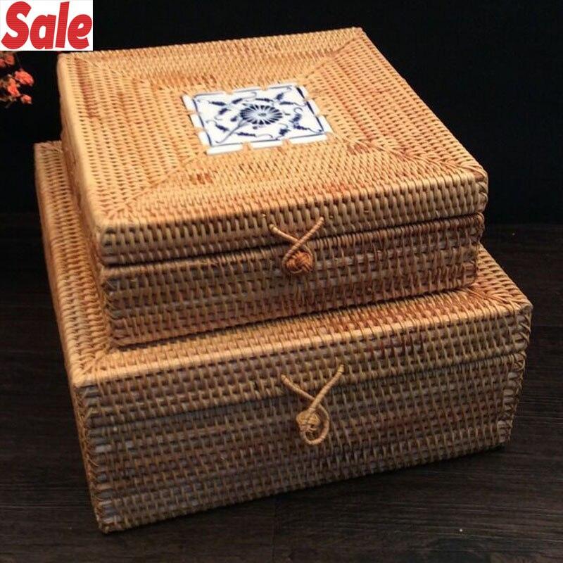Vietnam automne rotin boîte de rangement carrée anti-poussière thé gâteau organisateur boîte à bijoux organisateur de stockage thé étain conteneurs secret