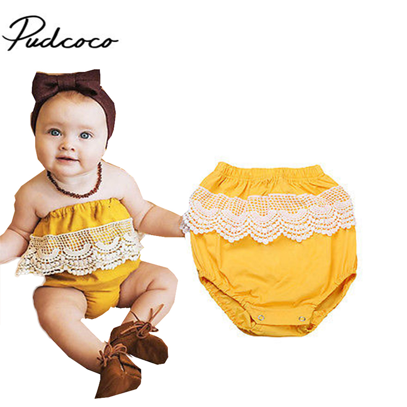 2017 Brand Pudoco Summer New baby girl romper off shoulder baby suits bebes newborn baby girl clothes set