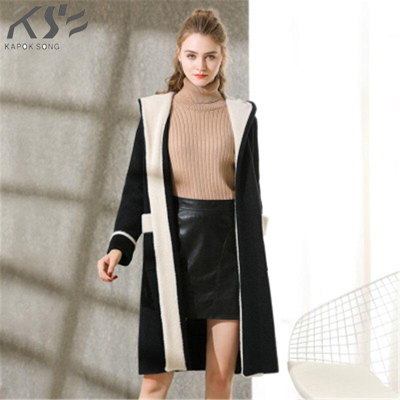 Winter new coat, fleece, double sided, undercoat, loose, long hat.-in Wool & Blends from Women's Clothing    1