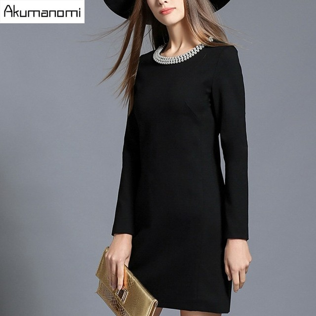 57d18754d9b Autumn Winter Dress Solid Black Beading Pearl Round Collar Full Sleeve  Bodycon Women Clothes Spring Dress Plus Size 5XL 4XL 3XL