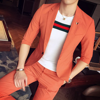 Drop Shipping Summer Soft Comfortable Fabric Men Casual Seven Point Sleeve Suits Male Two Piece Set