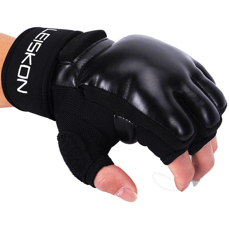 LEISKON детей взрослых Для женщин Для мужчин ММА перчатки половина пальцев Бокс рукавицы каратэ Муай Тай Санда удар Training оборудовать Для мужчи...