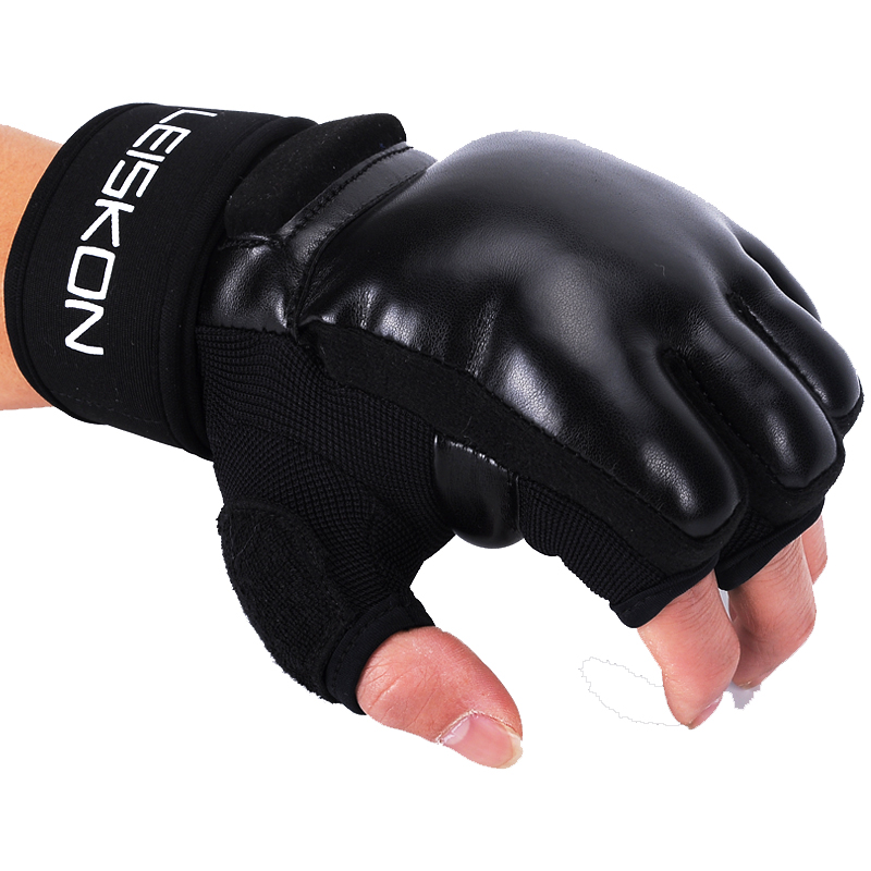 Leiskon Kinder Erwachsene Frauen Männer MMA Handschuhe Halbe Finger <font><b>Boxing</b></font> Mitts Karate Muay Thai Sanda Punch Training Ausrüstung 2018DDO image
