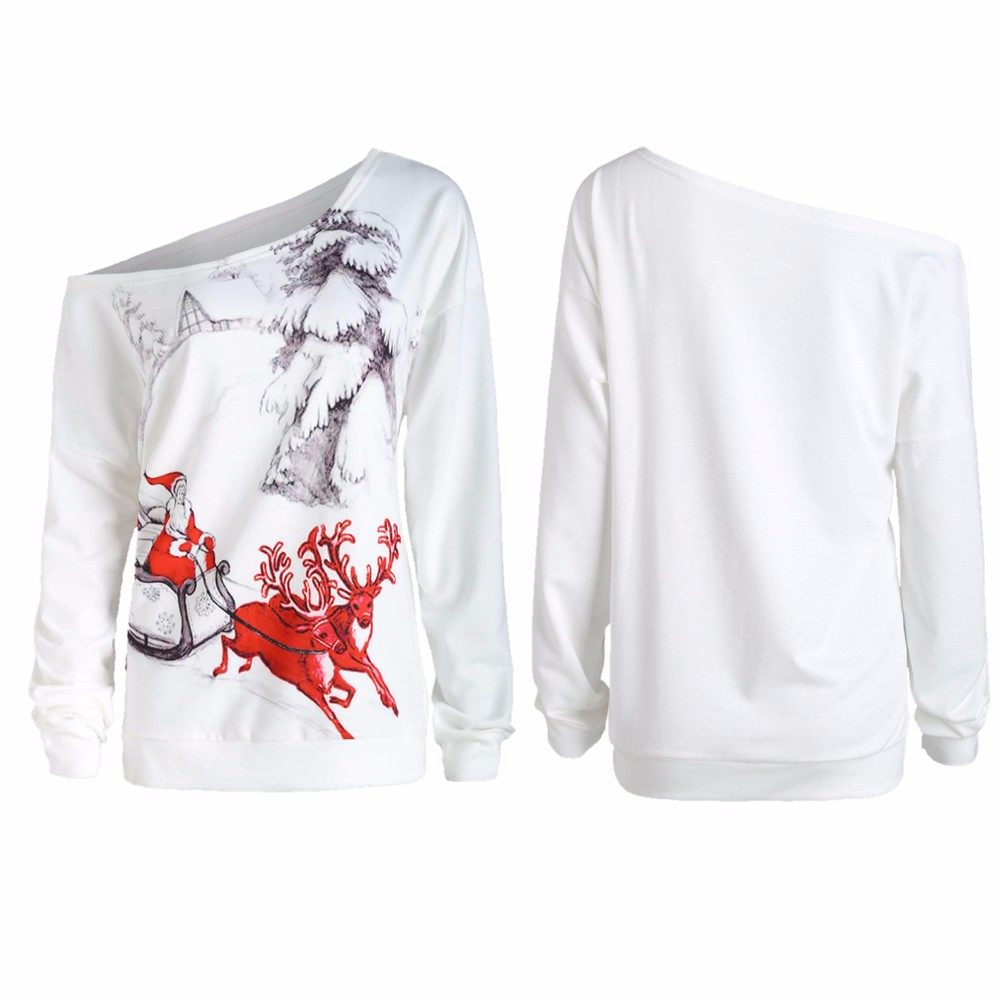 Feitong 2018 New Bts Off One Side Shoulder Festival Fashion Women Long Sleeve Tops Christmas Printing Big Size Sweat