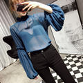 [CHICEVER] 2017 Spring Lantern Sleeve Half High Collar Loose Perspective Pullover T-shirt Women New Fashion Clothing