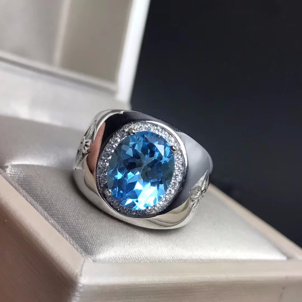 Royal Blue Topaz Men's RING 925 Silver Customized Ring Size New Recommended Simple Ring