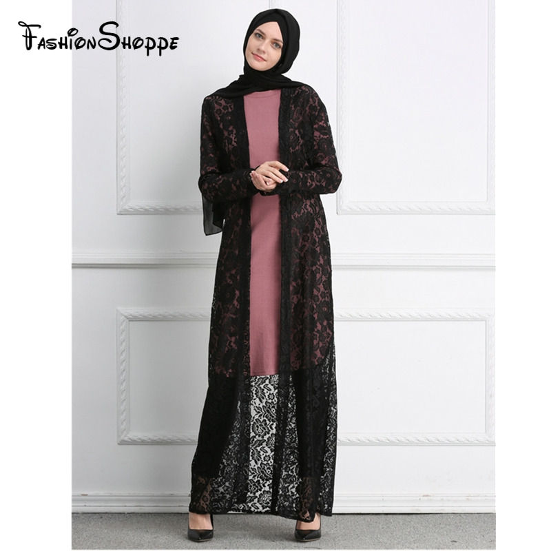 fb5e455c54aa4 Full Lace Black White Dubai Abaya Kimono Cardigan Muslim Dresses Plus Size Maxi  Dress Soft Long Womens Clothing  D495