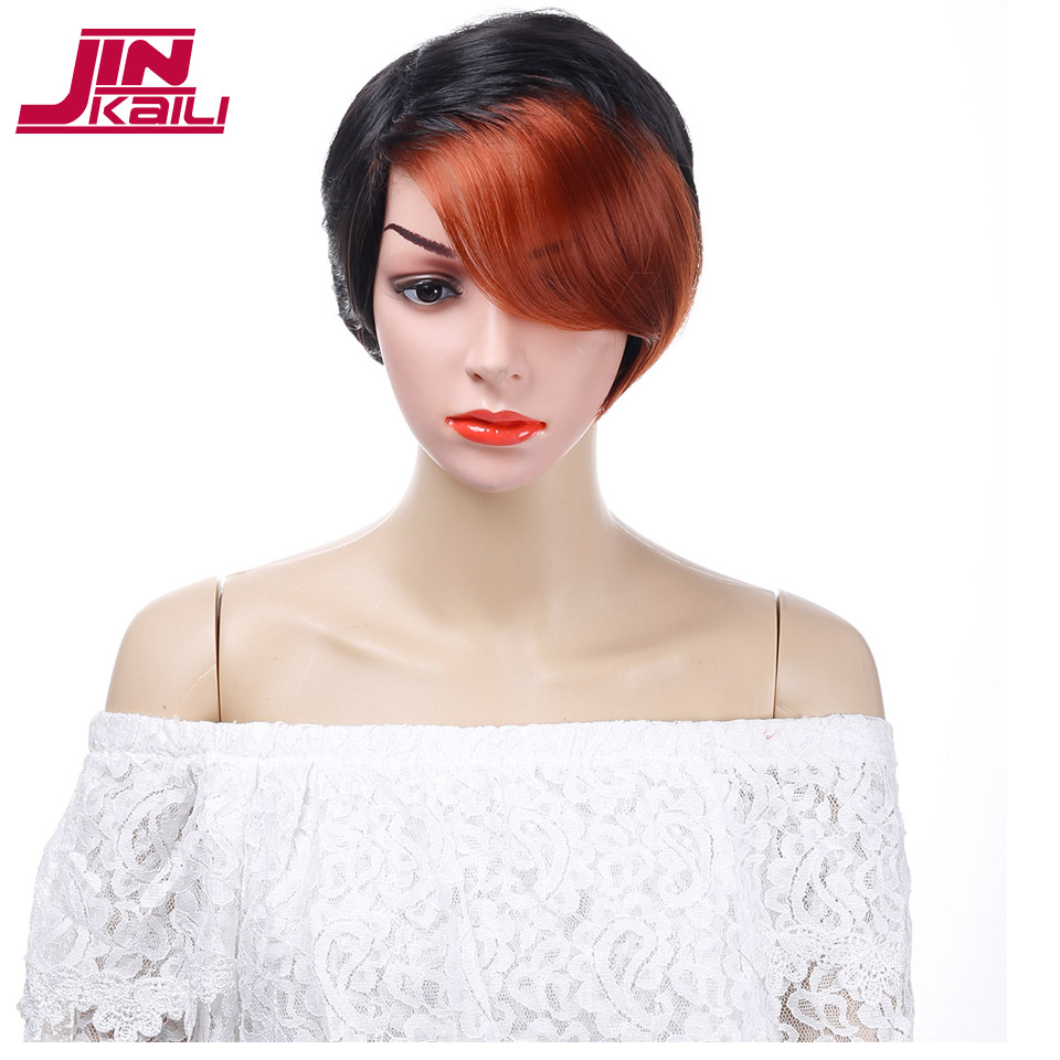 JINKAILI WIG Short Pixie Cut Brown Black Wig with Bangs Heat Resistant Synthetic Cosplay Costume Hair Wigs