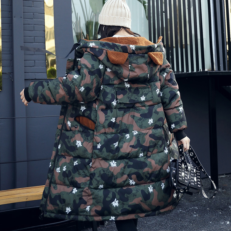 Camouflage Color Winter Parkas Women Jacket Zipper Long Maxi Coat Thick Outerwear Slim Knee Length Padded Slim Hooded Plus Size thick hooded down jacket women slim print long winter coat camouflage y160