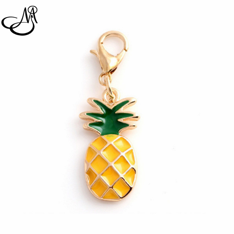 20Pcs/lot Gold Lobster Clasp Charms Enamel Pineapple Dangle Charms DIY Pendant Jewelry Accessories FA158