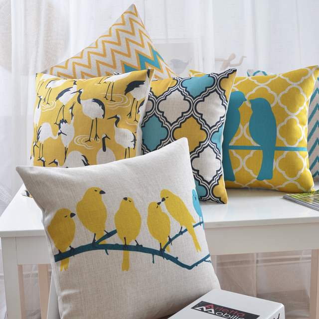 Bright Yellow Bird Pillow / Decorative Sofa Car Chair Cushions