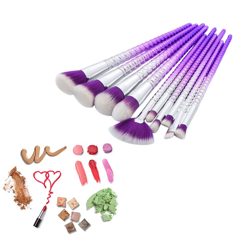 10pcs  Beauty Makeup Brushes Tools Set Rhinestone Tools Powder Foundation Eye Lip Concealer Face Makeup Brushes  Tools 1pc multifunction makeup brushes and 15 color concealer oblique wooden handle mask powder facial face cream set beauty tools