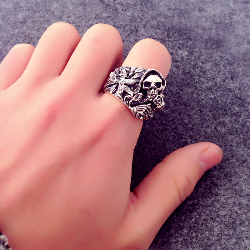 925 Sterling Silver Skull Rings For Men With Cross Flower Howling Eagle Vintage Punk Rock Thai Silver Gothic Domineering Ring