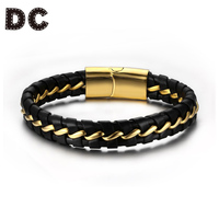 DC Fashion Gold Color Stainless Steel Magnetic Clasps Charms Braid Leather Cord Bracelets Bangles for Man Male Punk Rock Jewely