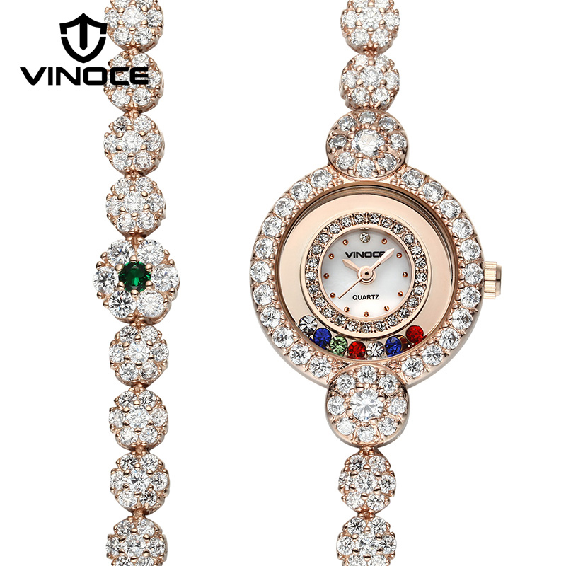 VINOCE Gold Long Bracelet Women Watches Luxury Crystal Diamond Elegant 2018 Ladies Wristwatches Relogio Feminino baosaili brand luxury crystal gold watches women ladies quartz wristwatches bracelet relogio feminino relojes mujer bs001