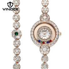 VINOCE Gold Long Bracelet Women Watches Luxury Crystal Diamond Elegant 2017 Ladies Wristwatches Relogio Feminino