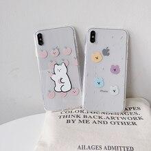 Чехлы для телефонов с милым медведем для iPhone 11 Pro 6 S, мягкий чехол из ТПУ с милым медведем для iPhone 7 8 plus, прозрачный мультяшный телефон 11 X XR Xs Max