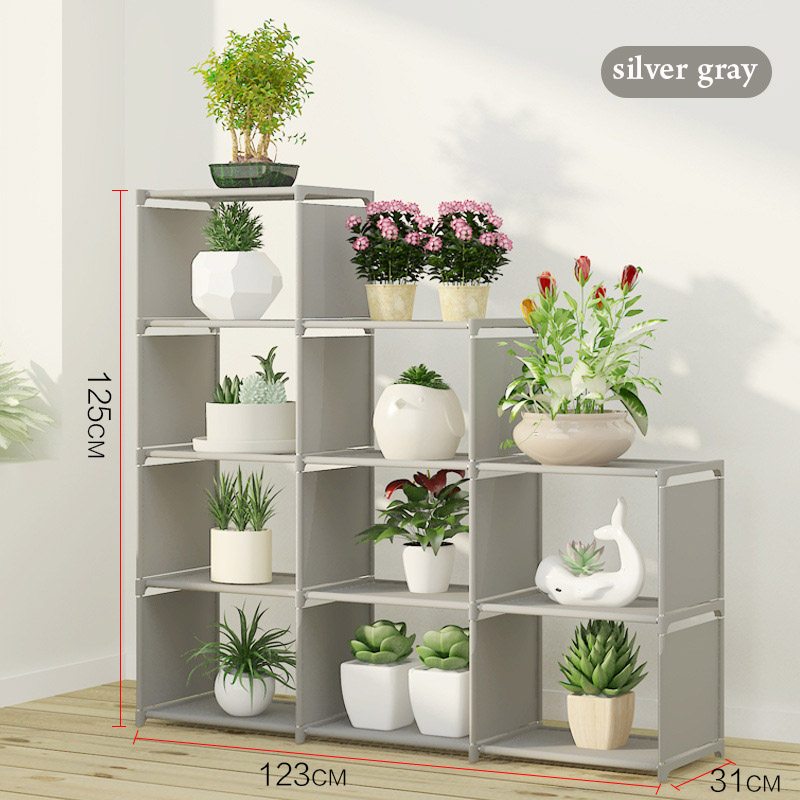 Simple Multi Grid Bookcase Assembly Metal Reinforced Bookshelf Combination Multi  Function Bookcase Outdoor Flower Plant Shelves In Plant Shelves From ...