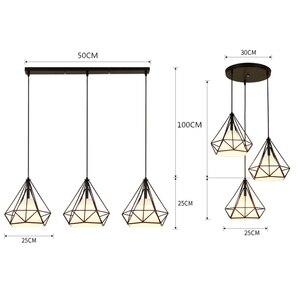 Image 2 - Lámpara colgante de hierro estilo diamante minimalista Retro Para restaurante, Bar y oficina