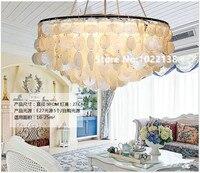 Средиземное море натуральный Shell подвесные светильники для столовой Бар новый раунд светодио дный Lamparas Colgantes E27 ручной вязки основа лампе