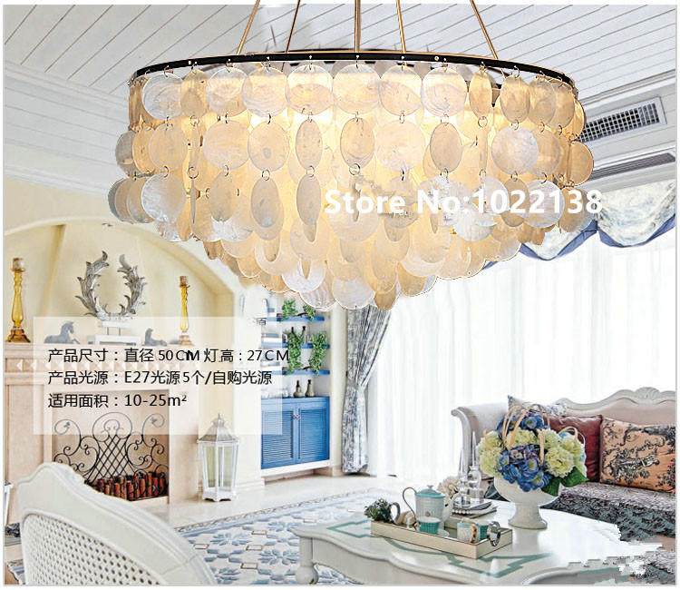 Mer méditerranée naturel Shell pendentif lumières pour salle à manger Bar Nouveau cycle Led Lamparas Colgantes E27 Tricoté À La Main shell lampe