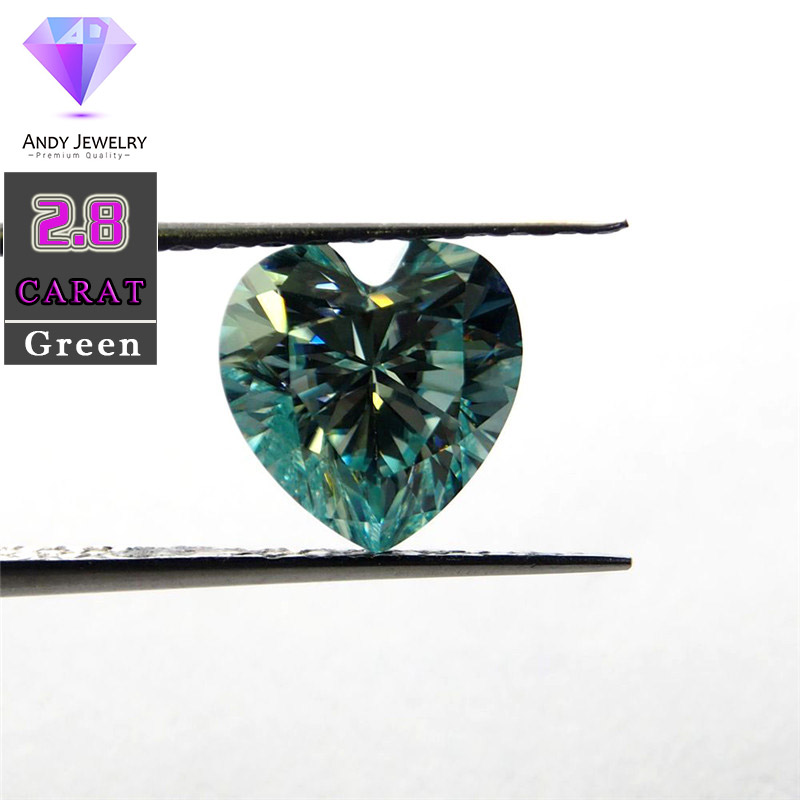 9.5*9.5mm 2.8 Carat Green color Moissanite heart Brilliant cut Sic material similar to diamond