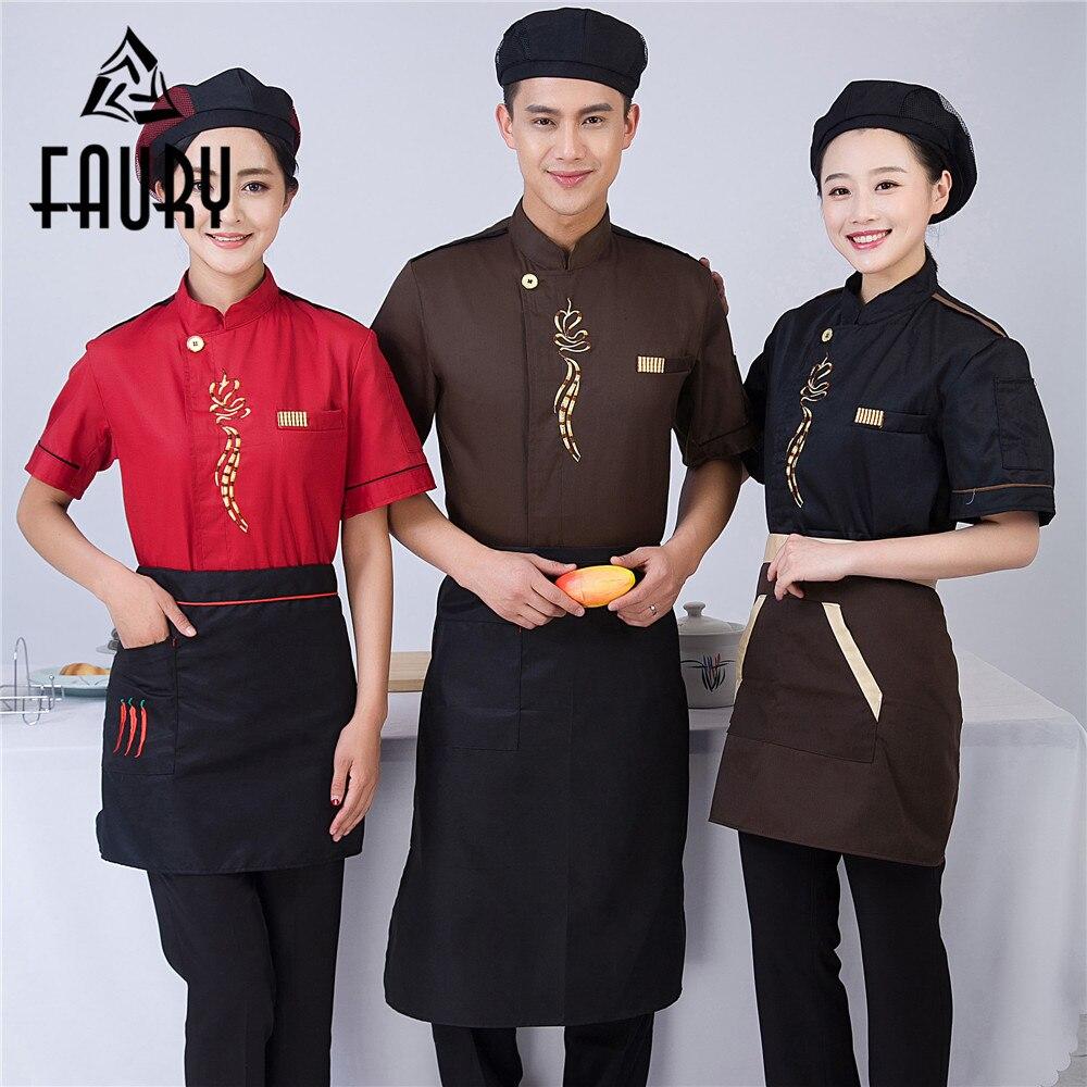 Unisex Short Sleeve Embroidery Flower Summer Restaurant Food Service Cafe Bakery Kitchen Canteen Work Uniform Jacket Apron