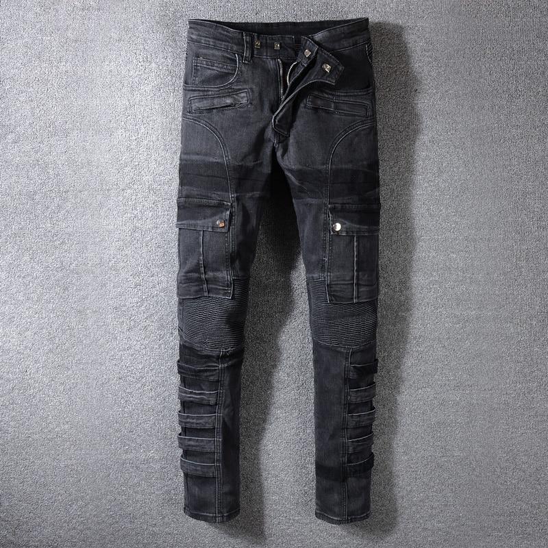 Fashion Streetwear Men Jeans Black Color Spliced Designer High Quality Hip Hop Denim Cargo Pants Big Size 29-42 Biker Jeans Men