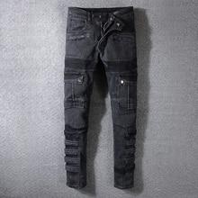 Fashion Streetwear Men Jeans Black Color Spliced Designer High Quality Hip Hop Denim Cargo Pants Big Size 29-42 Biker Jeans Men size 28 38 new gray jeans mens high quality autumn winter denim jeans pants for men biker designer cotton jeans man jn615