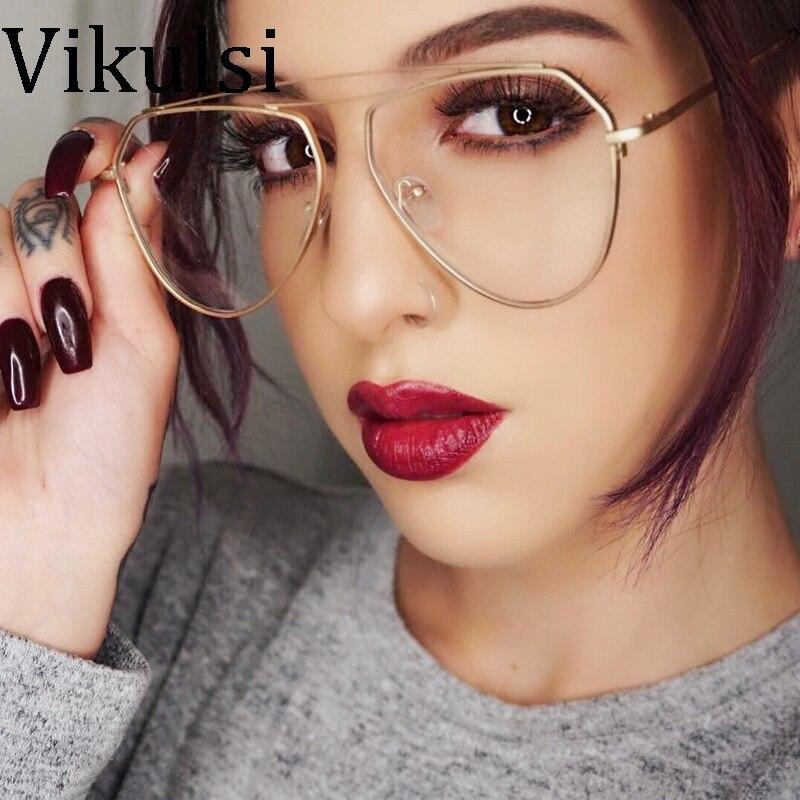 2017 new aviator clear glasses women optical eyeglasses men gold optical frame transparent lens glasses frames