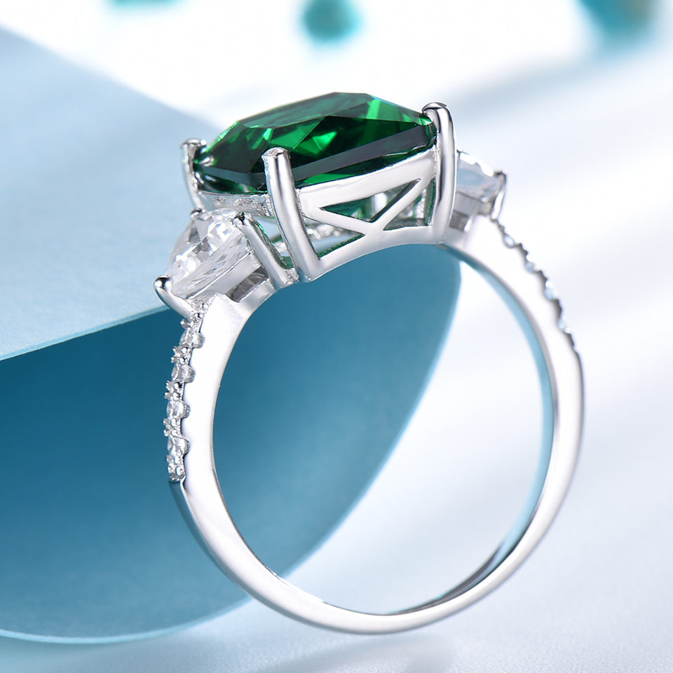 UMCHO Emerald Gemstone Rings for Women Solid 925 Sterling Silver Promise Ring Square Green Wedding Engagement Luxury Jewelry New in Rings from Jewelry Accessories