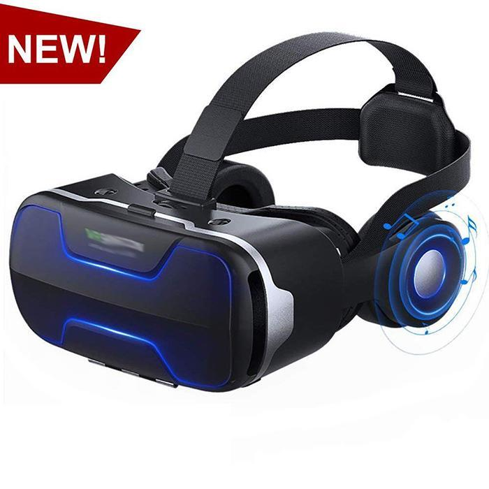 VR Glasses Virtual Reality 3D Stereo Glasses Adjustable T-shape Strap VR Headset Box for Watching Movie Play Game With Headphone(China)