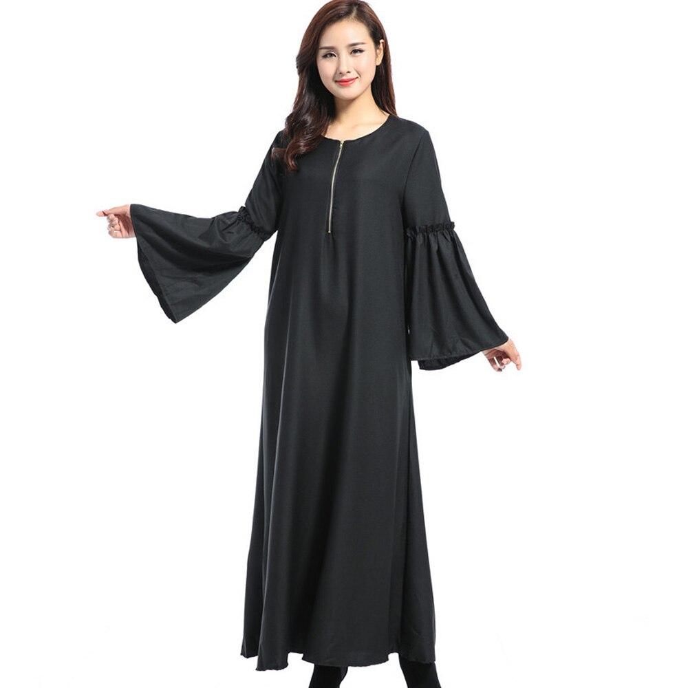 Женское мусульманское платье Абайи Черное длинное на молнии в мусульманском