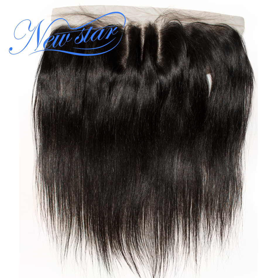 Ear-Closures Star-Hair Lace-Frontal 3-Part Hairline Hair-13x4 Pre-Plucked Straight Brazilian