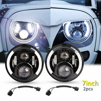2pcs Black 7 Inch Round H Low Lm LED Headlight For Lada 4x4 Urban Niva For