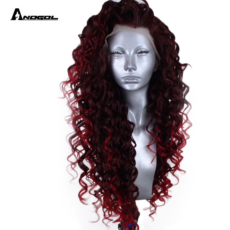 Anogol High Temperature Fiber Peruca Long Bouncy Spiral Curls Dark Burgundy Red Blend Into Bright Red  Synthetic Lace Front Wig